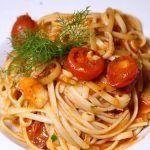 Espaguetis con rape y tomatitos